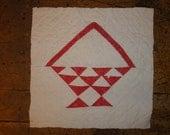 Antique Quilt Piece | Vintage Quilt Piece |  Old Quilt PIece |  Cutter Quilt Piece | Red Flower Basket Quilt Square