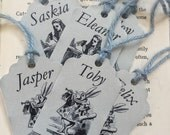 Name tags x 10 - Alice in Wonderland, personalised - loot bag tags, place setting tags