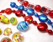 Lot of New Glass Beads Pendants Necklaces Lampwork Yellow Red Blue