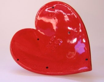 True Love red ceramic Heart Dish :) tiny black dots -- pottery candleholder, jewelry dish, soap dish, gift of love