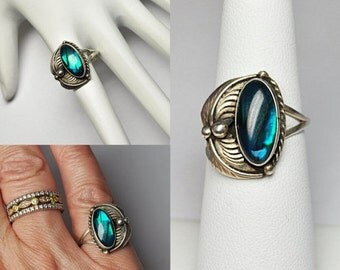 ON SALE Vintage NAVAJO Sterling Silver & Green Abalone Leaf Ring, Native American, Asymmetrical, Handcrafted, Size 5 1/2, Wonderful! #B190