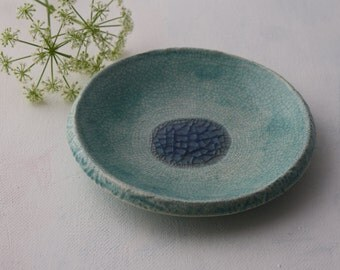 Ocean Blue Ring dish, Crackle pattern, catch all, soap dish, small plate, Coastal decor, ocean theme, trinket dish gift.