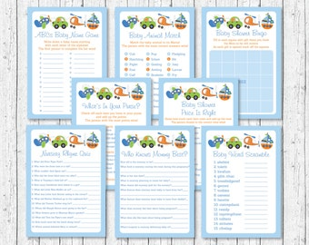 Transportation Baby Shower Games Package / 8 Printable Games / Car / Sailboat / Airplane / Helicopter / Baby Boy Shower / INSTANT DOWNLOAD