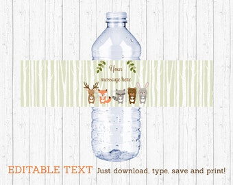 Woodland Forest Animal Water Bottle Wraps / Water Bottle Labels / Woodland Baby Shower / Printable INSTANT DOWNLOAD Editable PDF