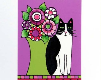 Cat Lover Art Print/ Black & White Kitty with Purple Flowers by Susan Faye