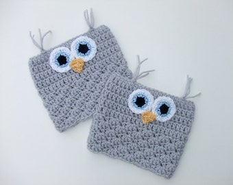 Crocheted Owl Boot Cuffs, Women's Boot Cuffs, Boot Socks, Ready to Ship