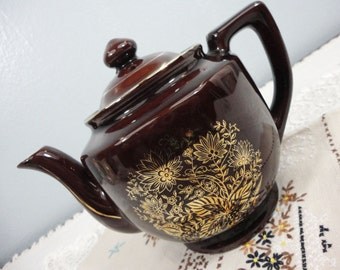 Vintage Japanese Redware Teapot with Gold Floral Design