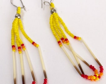 Vintage Native American Beaded Pierced Dangle Loop Earrings with Porcupine Quills Red Yellow Orange