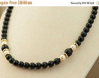 Vintage Black Bead Necklace with Faux Pearls Gold Tone Accents