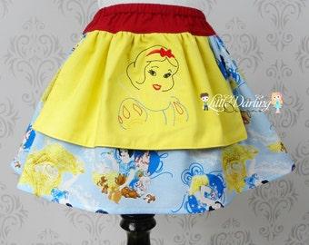 Snow White Skirt,  Snow White Twirly Skirt, Disney Skirt, Princess Skirt, Disney, Disney Skirt, Snow White Embroidery, Disney Embroidery