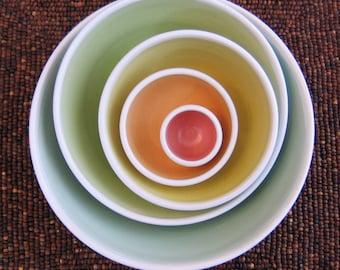 Rainbow Pottery Nesting Bowls - Large Ceramic Stoneware Serving Set - Wedding Gift