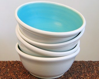 Ceramic Soup Bowls / Cereal Bowls in Turquoise Blue - Set of 4 Stoneware Pottery Bowls