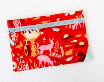 Red Camping Zipper Pouch Accessory Case Deer