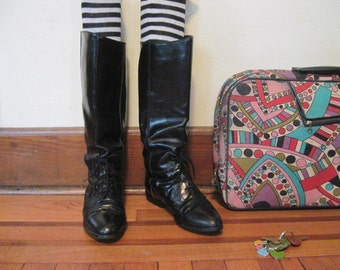 size 8.5, vintage Black leather Riding Boots - EQUESTRIAN PREP , horseback, victorian revival