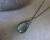 Green Labradorite Oxidized Silver Necklace, Sterling Silver, Wire Wrapped, Large, Pendant, Irisjewelrydesign