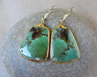 Green Turquoise Earrings, Gold, Large, Drop, Dangle, Leverback Ear Wire, Irisjewelrydesign