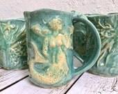 Ceramic Mermaid Coffee Cup - Mermaid - Mermaid Mug - Handmade Ceramic Mermaid Mug - Large Coffee Mug - Mermaid Cup  - Mermaid Decor
