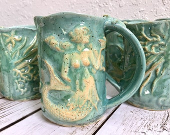 Ceramic Mermaid Coffee Cup - Mermaid - Mermaid Mug - Handmade Ceramic Mermaid Mug - Large Coffee Mug - Mermaid Cup  - Mermaid Decor