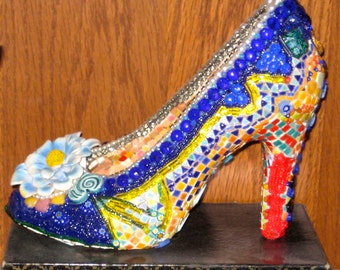 Mosaic Shoe Art Sculpture. Glass beads, seed beads, bugle beads, Porcelain shoe, Tiny Tiles, metal, crystals, Millefiori. Vintage beads.