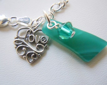 Sterling Silver Sea Glass Bracelet Turquoise Sea Beach Glass Jewelry