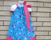 Blue Peppa the Pig Inspired Pillowcase dress in sizes 6M to  8Y