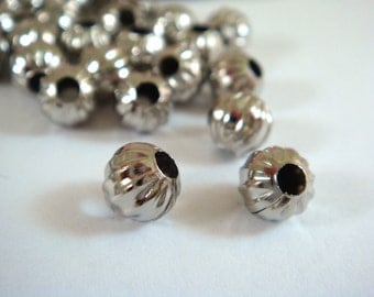 50 Platinum Ribbed Beads 6mm Plated Iron Pumpkin 2mm Hole - 50 pc - M7011-N6mm50