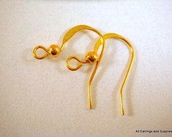 60 Gold Earwire Hooks, Flat Fishhook 14mm Gold Plated Ear Wires - 60 pc - F4005EW-G60