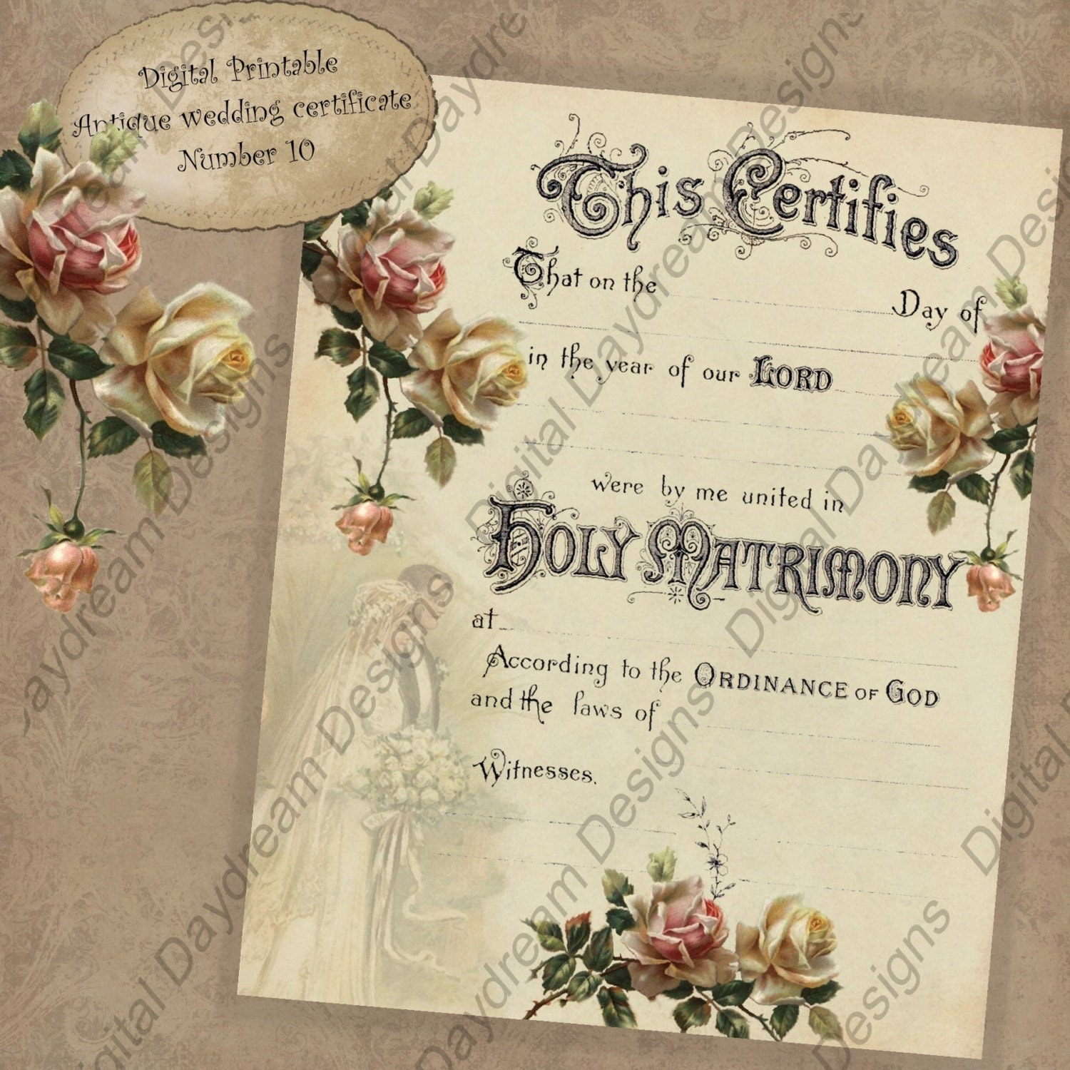 This is a picture of Declarative Printable Marriage Certificate