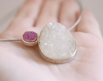 Gretel pendant. Sterling silver pendant with druzy Quartz and Cobaltocalcite. Druzy pendant, Cobaltocalcite necklace, gemstone necklace.