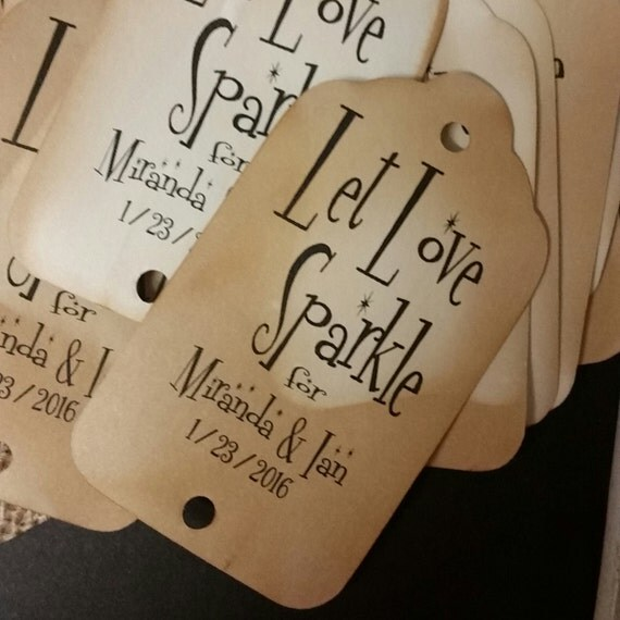 Let Love Sparkle 50 Large Tags Personalize with names and date Sparkle Send off