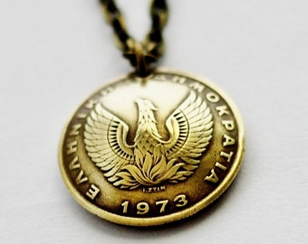Phoenix Coin Necklace Greek Owl Coin Phoenix Pendant 1 Drachma Domed Coin 1973 Greek Coin Jewelry by Hendywood