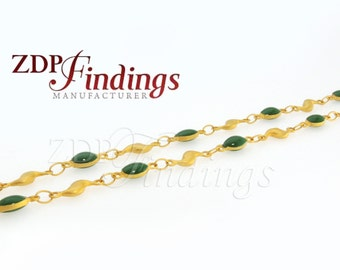 1Meter  High Quality Chain,Green-color Oval beads,  Rosary Chain Links (D100059787001)