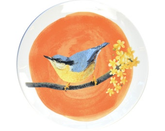 Porcelain wall plate with the bird illustration - Nuthatch - made to order