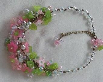Summer Garden Flowers Statement Collar Bib Necklace