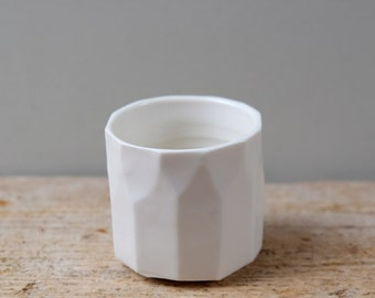 Small White Faceted Porcelain Tea Light Pot