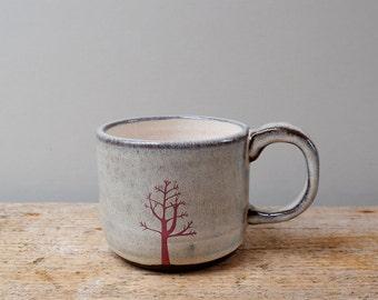 Darker Pink Winter Tree Mug with Cream Interior