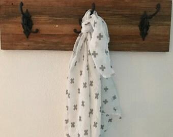 Grey Plus Sign Double Gauze Blanket Swaddler Light: Receiving Blanket