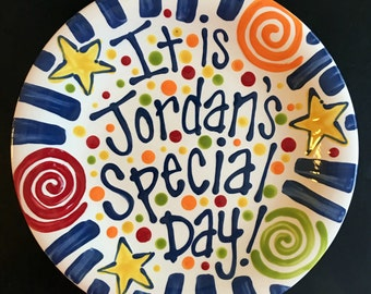 Brightly Colored Personalized 8 Inch Ceramic Special Day Plate or Birthday Plate