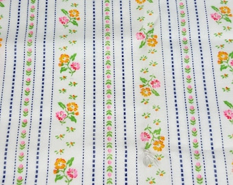 vintage 70s fabric, featuring great stripe and floral print, 1 yard