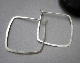 recycled silver Square Hoop earrings READY TO SHIP