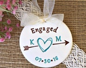Engagement Ornament with Scribble Heart and Arrow - Personalized Engagement Gift, Wedding Gift, Wedding Ornament, Couples Gift, Engaged