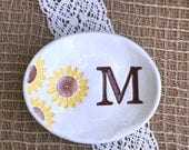 Bridesmaid Gift Dish, Oval Sunflower Ring Bowl, Jewelry Bowl, Personalized Ring Dish