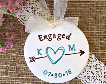 Engagement Ornament with Scribble Heart and Arrow -  Personalized, Engagement Gift for Couple, Ceramic Ornament, Dated Ornament