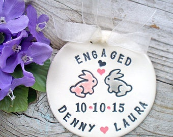 Ceramic Engagement Ornament w/ Bunnies in Love - Personalized with Names and Engagement Date