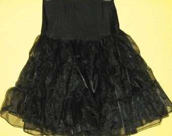 black petticoat . vintage black petticoat . 60s petticoat