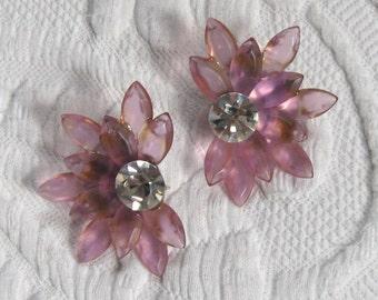 pink lucite earrings . half flower earrings . pink and rhinestone earrings . half petal earrings . half flower earrings