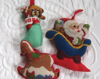 petite point xmas ornaments . Petite Point santa . petite point rocking horse . embroidered ornament . lot of 3