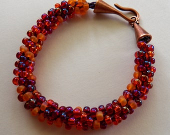 Fruit Salad Kumihimo Bracelet, Matt and Shiny Czech Beads in Shades of Red, Purple,Orange, Pinks