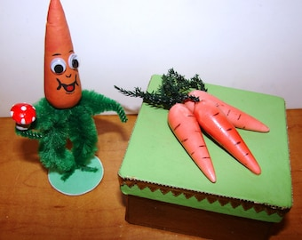 Carrots Easter Candy container and Carrot Man Figure