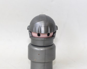 Vintage Fisher Price Little People Knight from the #993 Castle Silver and Grey body